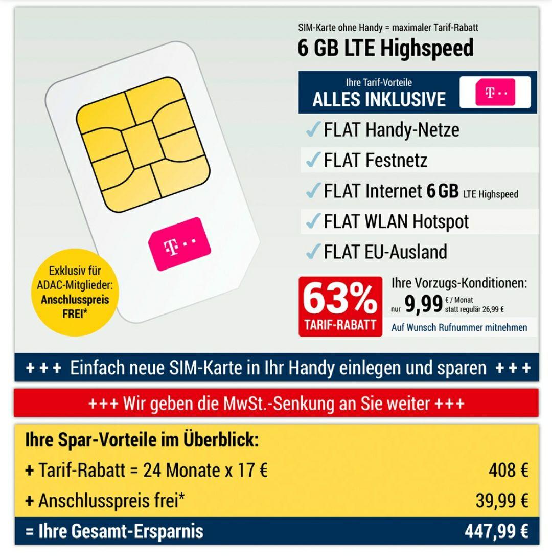 [MD ADAC] Telekom 6GB Highspeed LTE (21,6 Mbit/s) - Allnet Flat (inkl. EU-Ausland), freenet-WLAN-Hotspot Zugriff