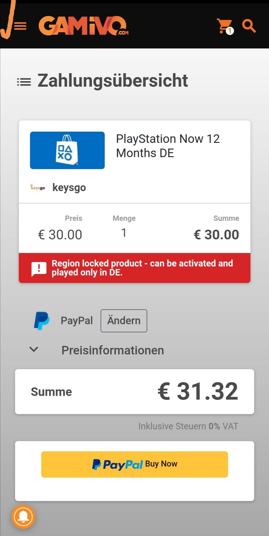Playstation Now 12 Monate für nur 34, 41