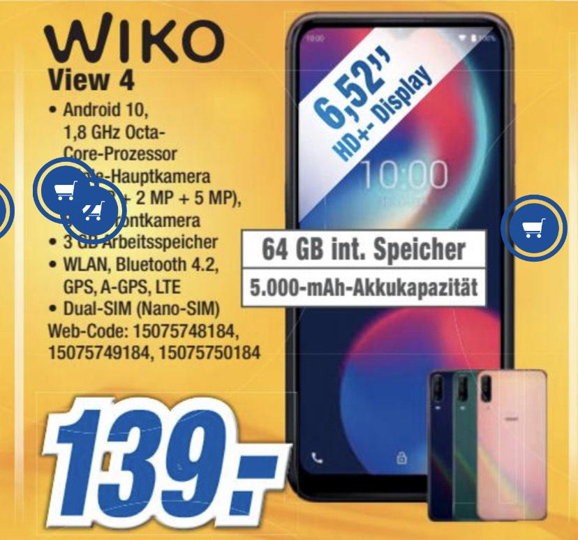 *Lokal expert Gröblinghoff* WIKO VIEW4 Smartphone, 5000 mAh Akku, 6,52 Zoll (16,5 cm), Dreifach-Kamera, 64GB + 3GB, Dual-SIM, Android 10