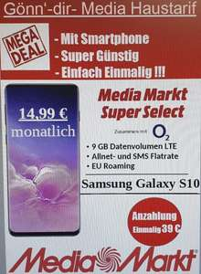 Lokal - Worms Samsung Galaxy S10 MM Super Select Tarif mit Allnet/SMS-Flat & 9GB LTE & EU-Roaming.14,99€ x 24 + 39€ ZZ +29,99€ AP = 428,75€