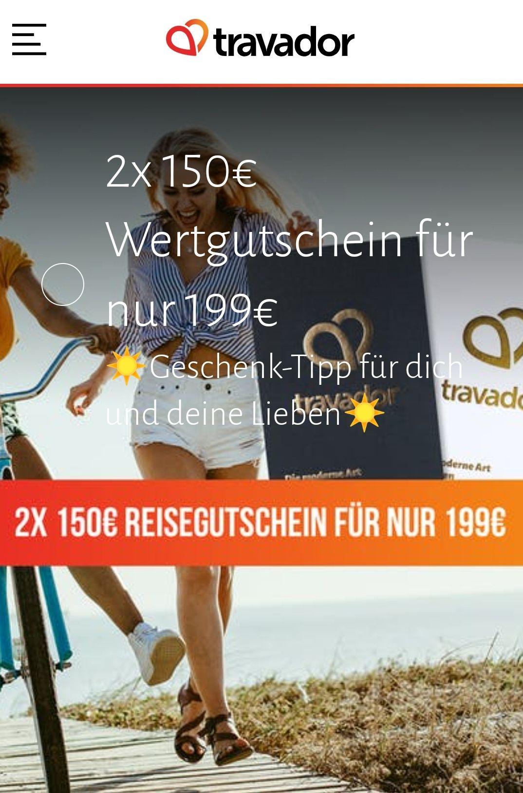 Travador Geschenkgutschene für alle Hotelangebote im Wert von 300,- € (2x150,- €) für 199,-€ (einlösbar ab 6.1.2021, bis Ende 2022)