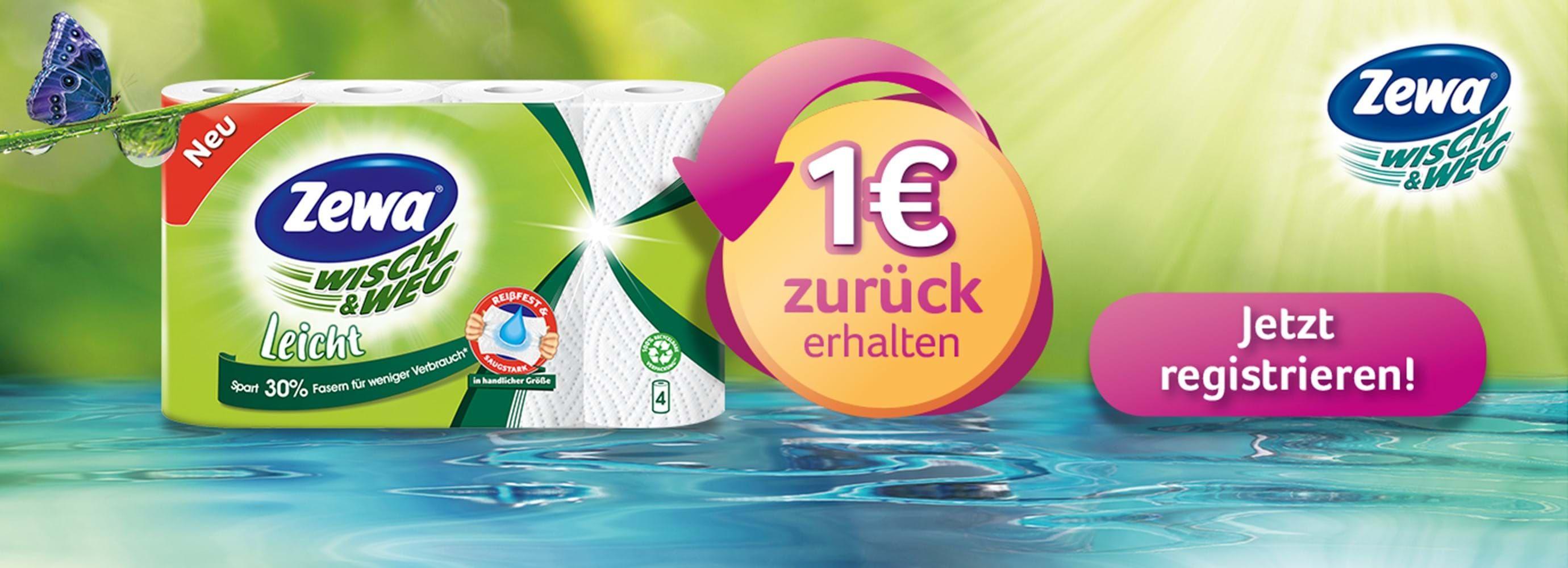 (Cashback) 1 Euro zurück bei Kauf von Zewa Smart oder Zewa Wisch & Weg Leicht