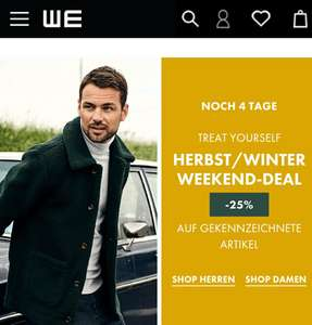 WE Fashion Weekend Deal 25% Rabatt - z.B. Damen/Herren Pullover/ Cardigans, Hemden/Blusen, Jeans/Chinos, Jacken
