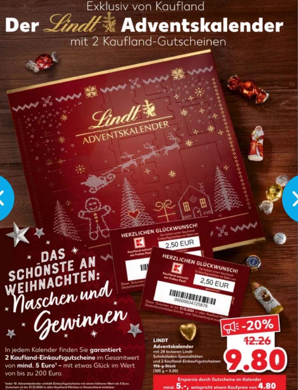 [Kaufland Do-Mi] Lindt Adventskalender mit mindestens 2x 2,50€ Gutschein für 9,80€