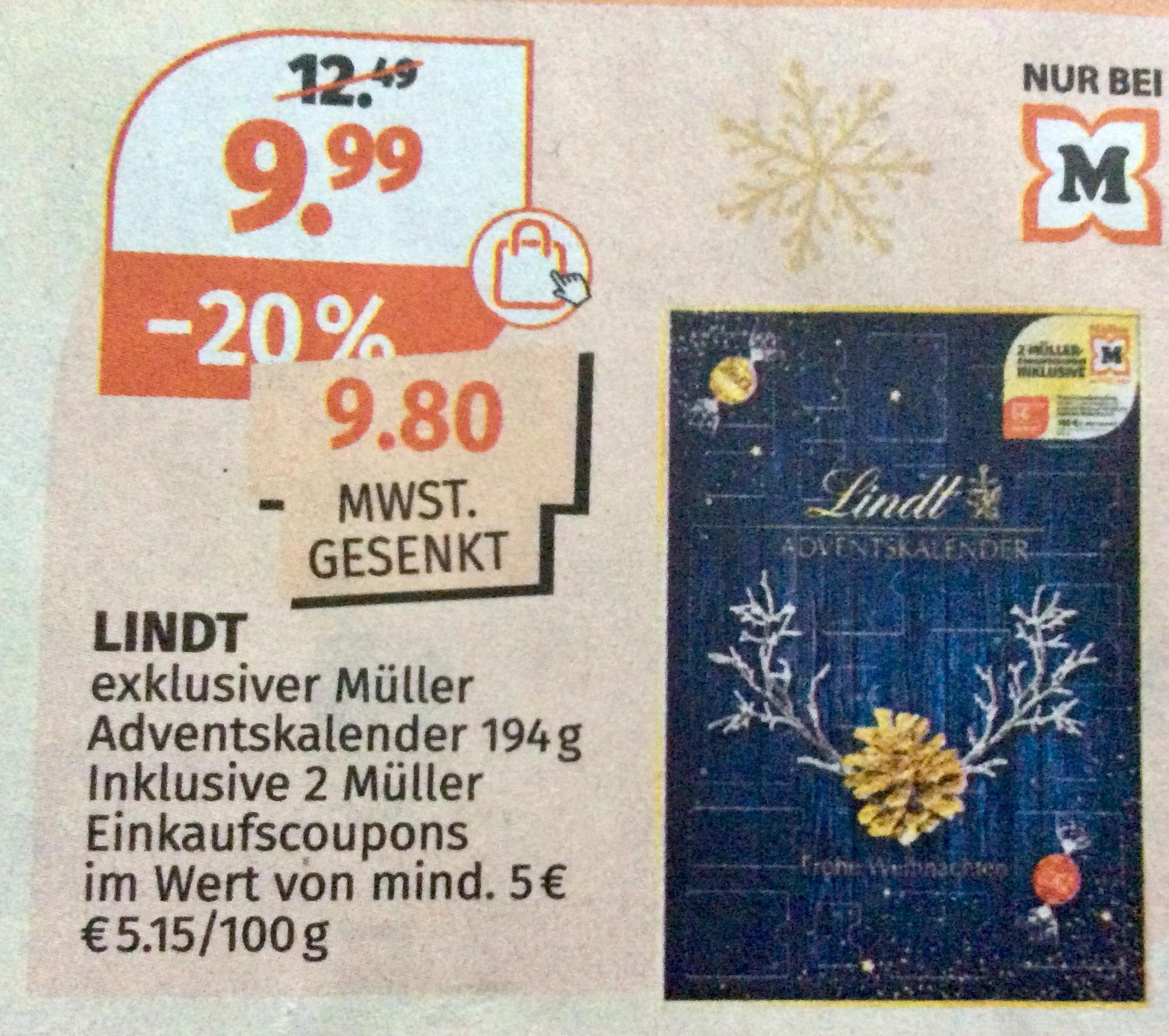 [Müller] Adventskalender von Lindt inklusive 2 Müller Einkaufscoupons im Wert von mindestens 5€