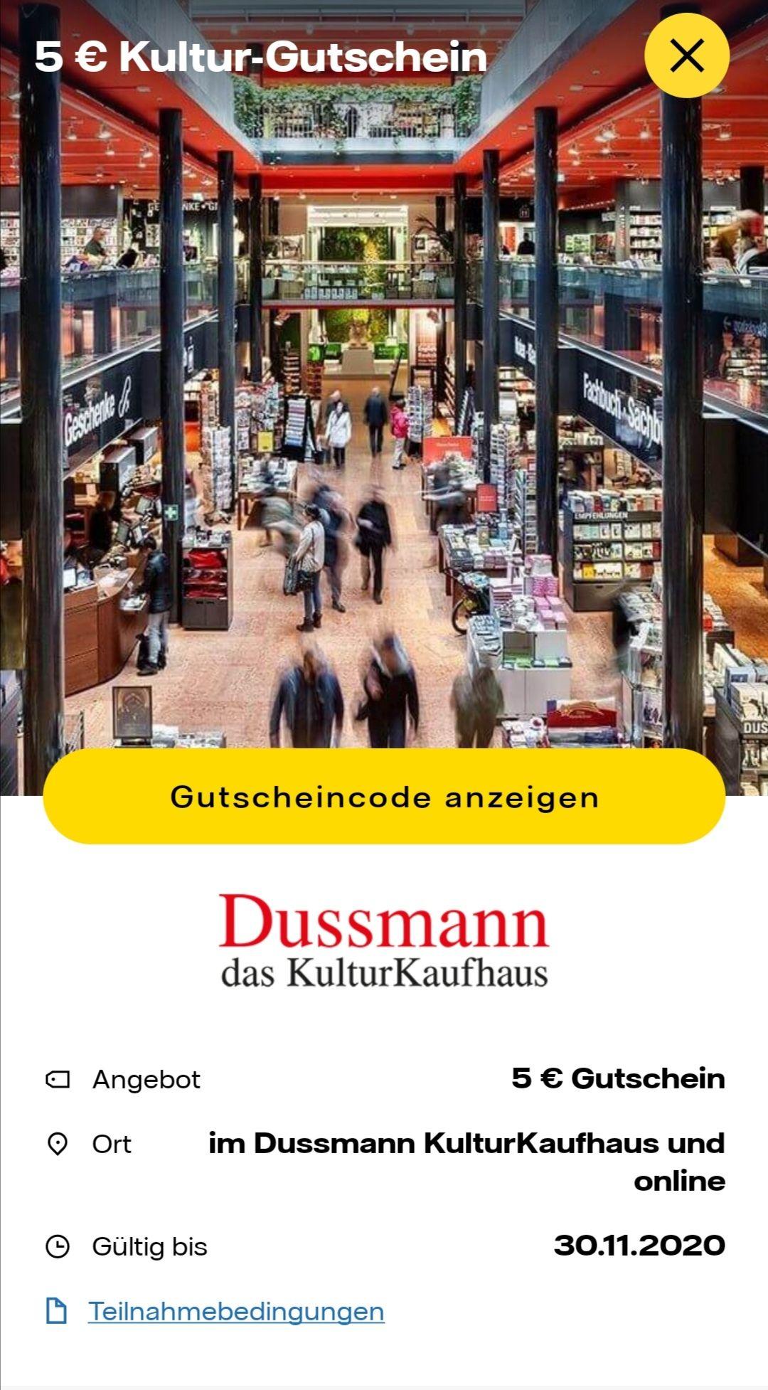 5,00 € Gutschein ohne Mbw im Dussmann Kultur Kaufhaus online sowie offline