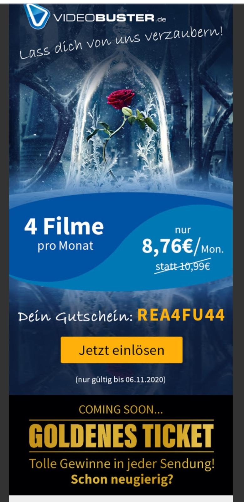 [Videobuster] 6x4 Filme leihen per Post (auch 4K UHD Blu-ray)