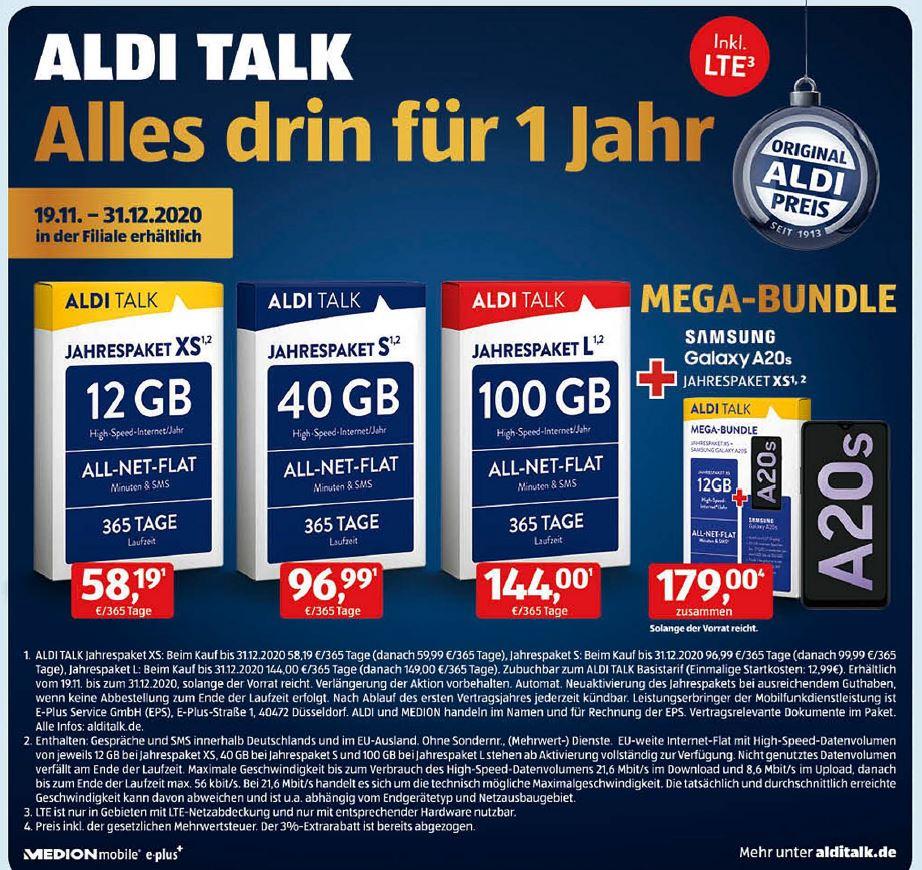 ALDI TALK Mega-Bundle: Jahrespaket XS (Allnet Flat, 12 GB LTE für 365 Tage) + Samsung Galaxy A20s ab 19.11. [ALDI-Nord+Süd]