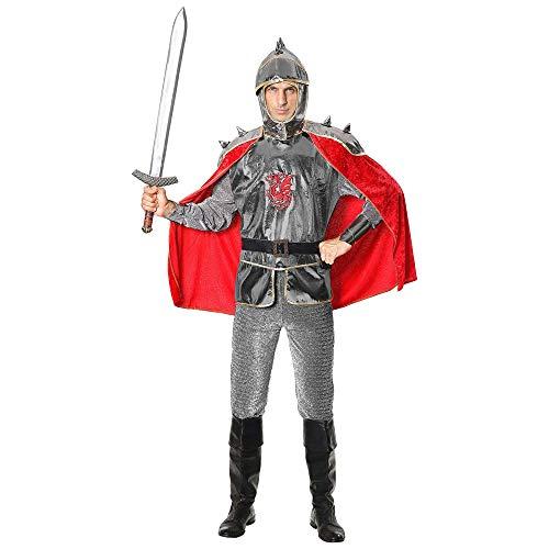 Widmann Kostüm Ritter, Tunika mit Rüstung und Umhang, Gürtel, Helm