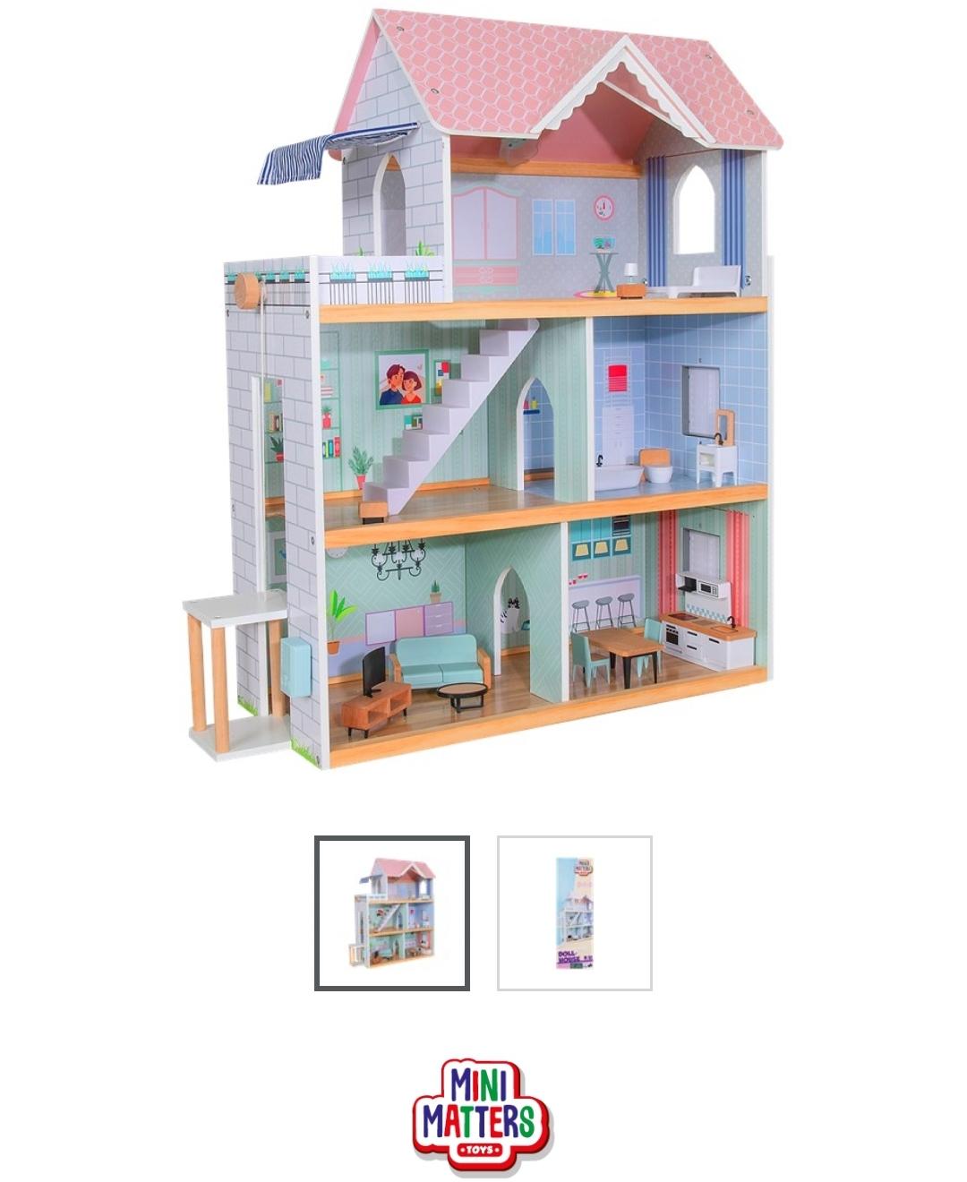 [ ACTION ] Mini Matters Puppenhaus aus Holz 15-teilig inkl. Batterien