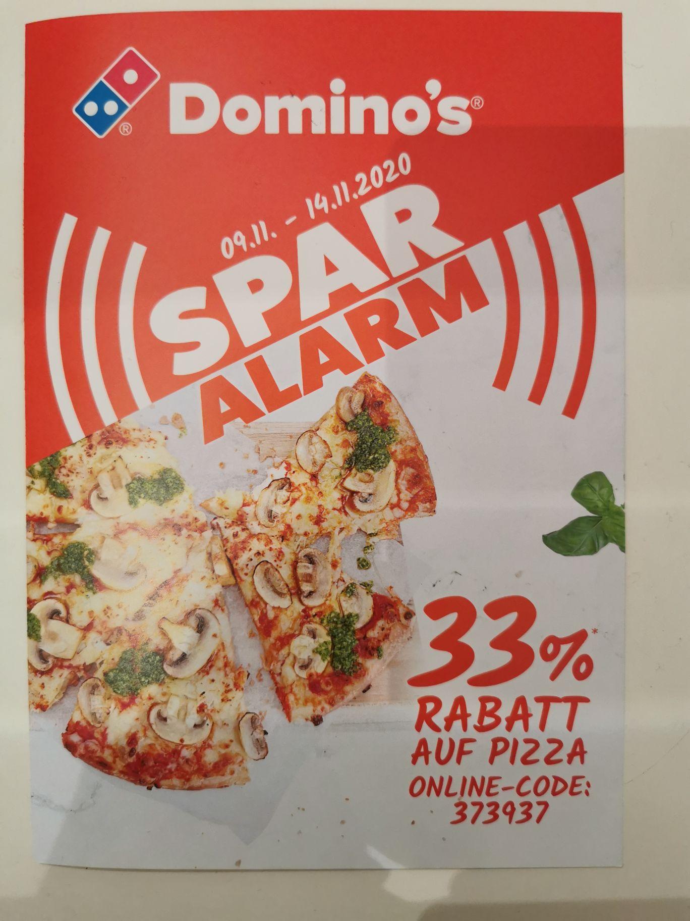 Domino's Pizza 33% Spar-Alarm