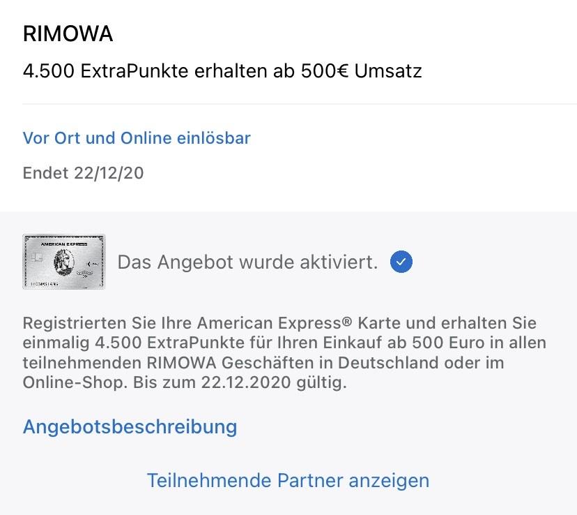 Amex Offer: 4500 Membership Rewards Punkte für 500 Euro Umsatz bei Rimowa