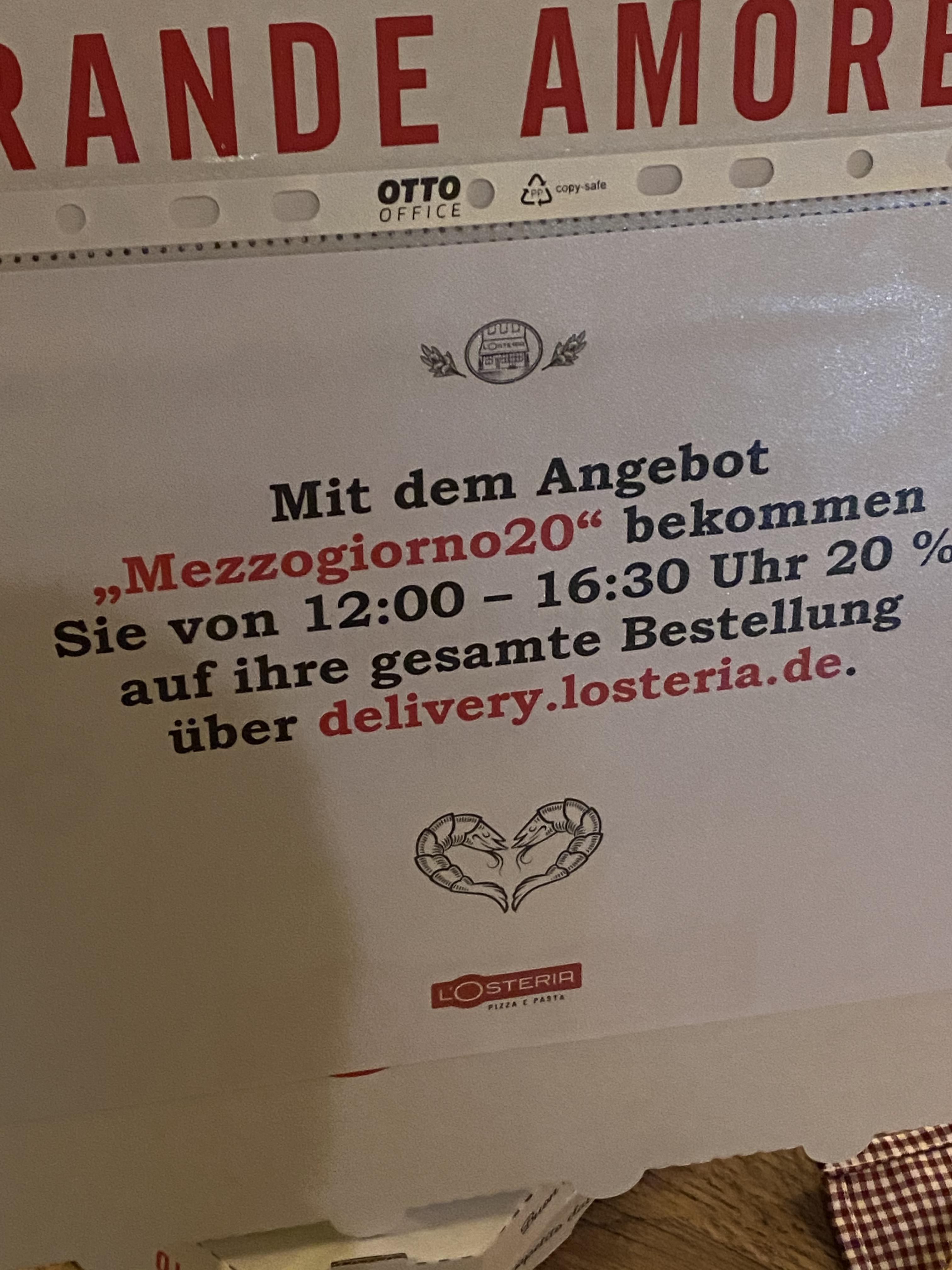 20% L'Osteria Gutschein für Online Bestellung in der Mittagspause (15€ MBW)