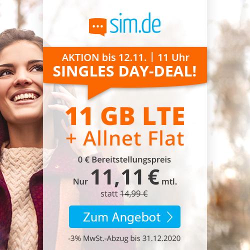 11GB LTE für 11,11€ bei sim.de: SIM-Only Tarif mit Allnet- & SMS-Flat + VoLTE & WLAN Call (3 Monate / 24 Monate; Telefonica-Netz)