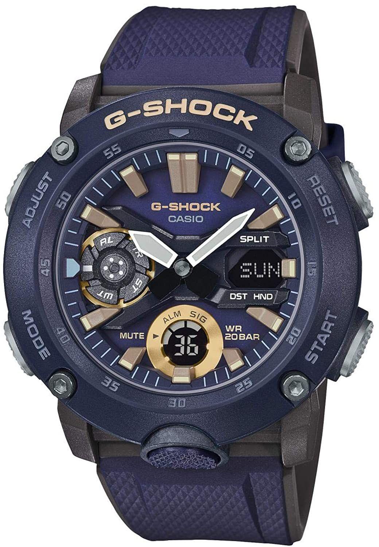 Casio G-Shock Quarz-Uhr GA-2000-2AER (wasserdicht bis 20 bar, Weltzeituhr, Stoppfunktion, Countdown Timer, Kalender, karbonverstärkt)