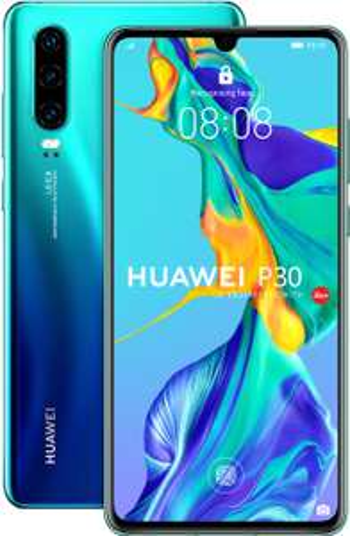 "Huawei P30 Aurora Blue (6.1"", 2340x1080, AMOLED, Kirin 980, 6/128GB + NM-Card, 40MP-Kamera, USB-C, Klinke, NFC, 3650mAh, Android 10)"