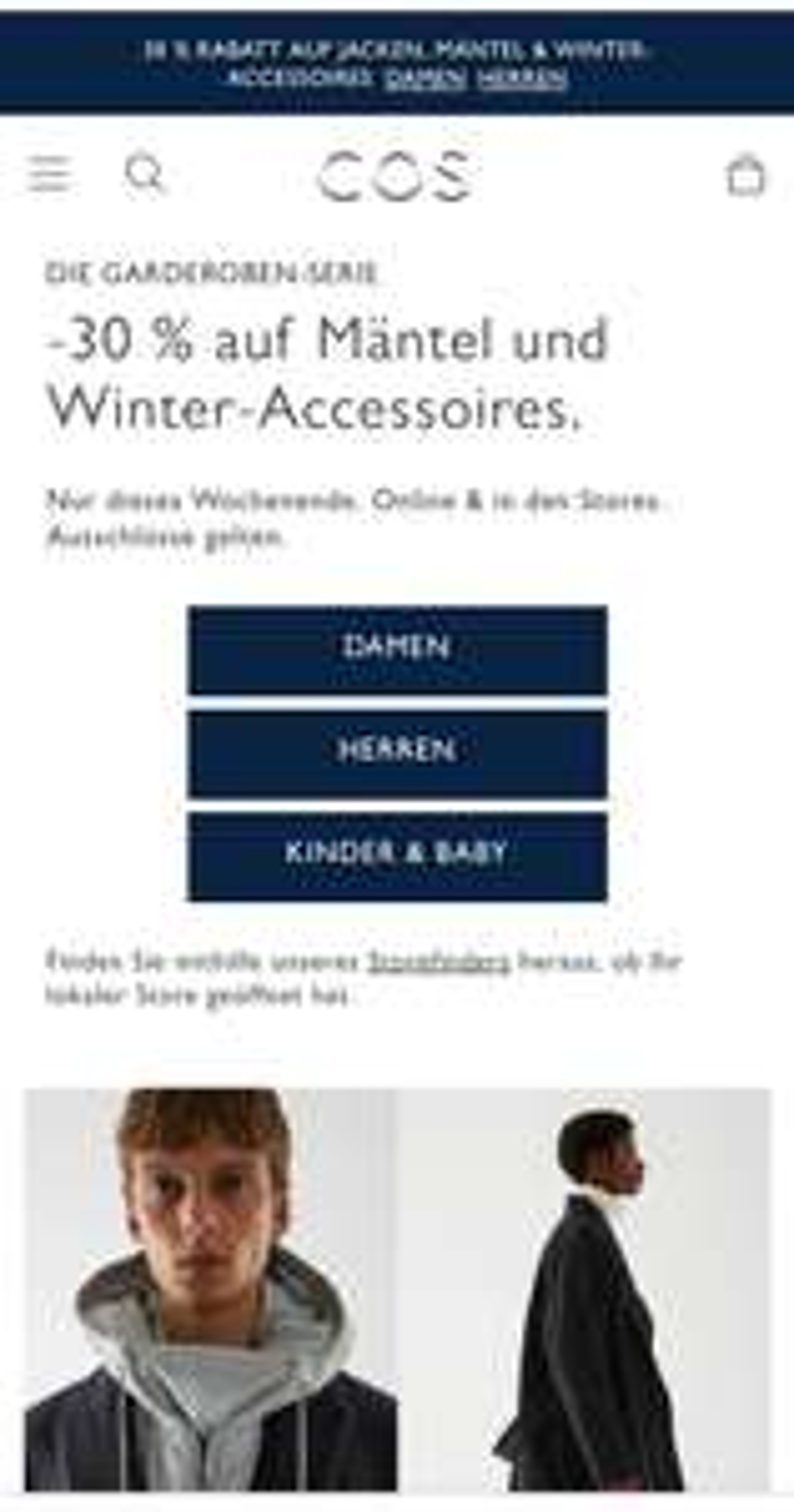 COS - 30% auf Mäntel und Winter-Accessoires