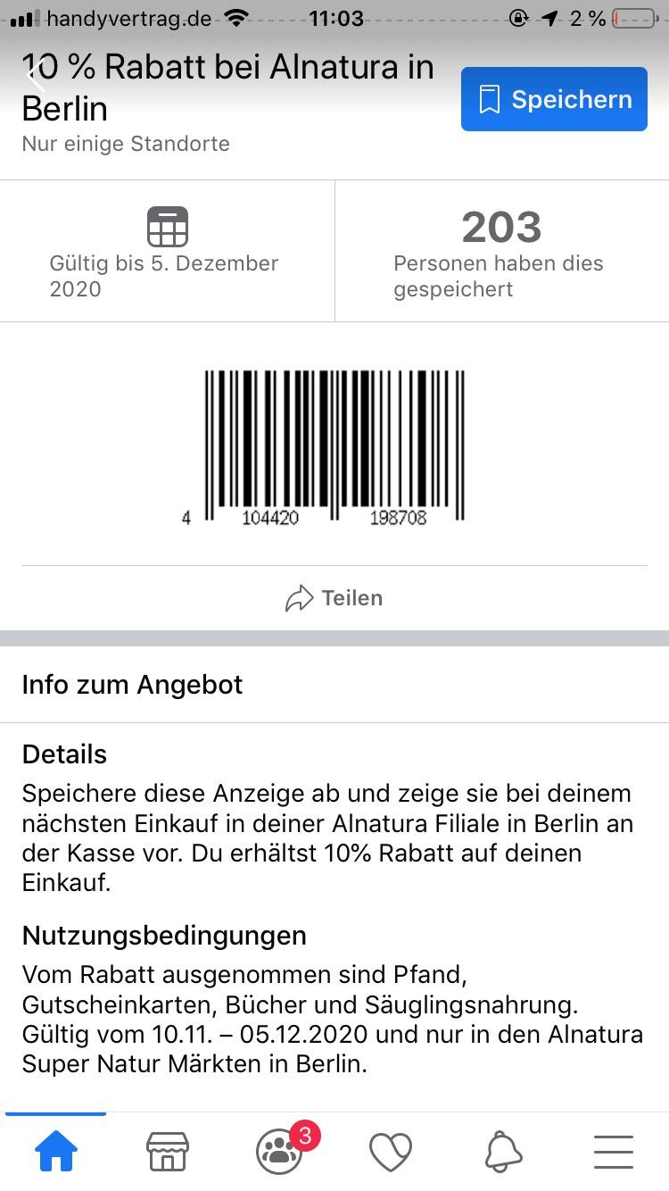 10% bei Alnatura | mehrfach nutzbar | Lokal Berlin