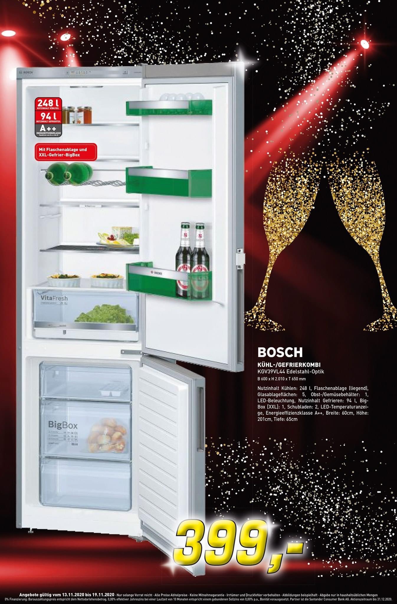 Bosch KGV39VL44 ( A++, 201 cm, 237 kWh/Jahr, 248 L Kühlteil, 94 L Gefrierteil)- [LOKAL IN BORKEN UND RHEDE]