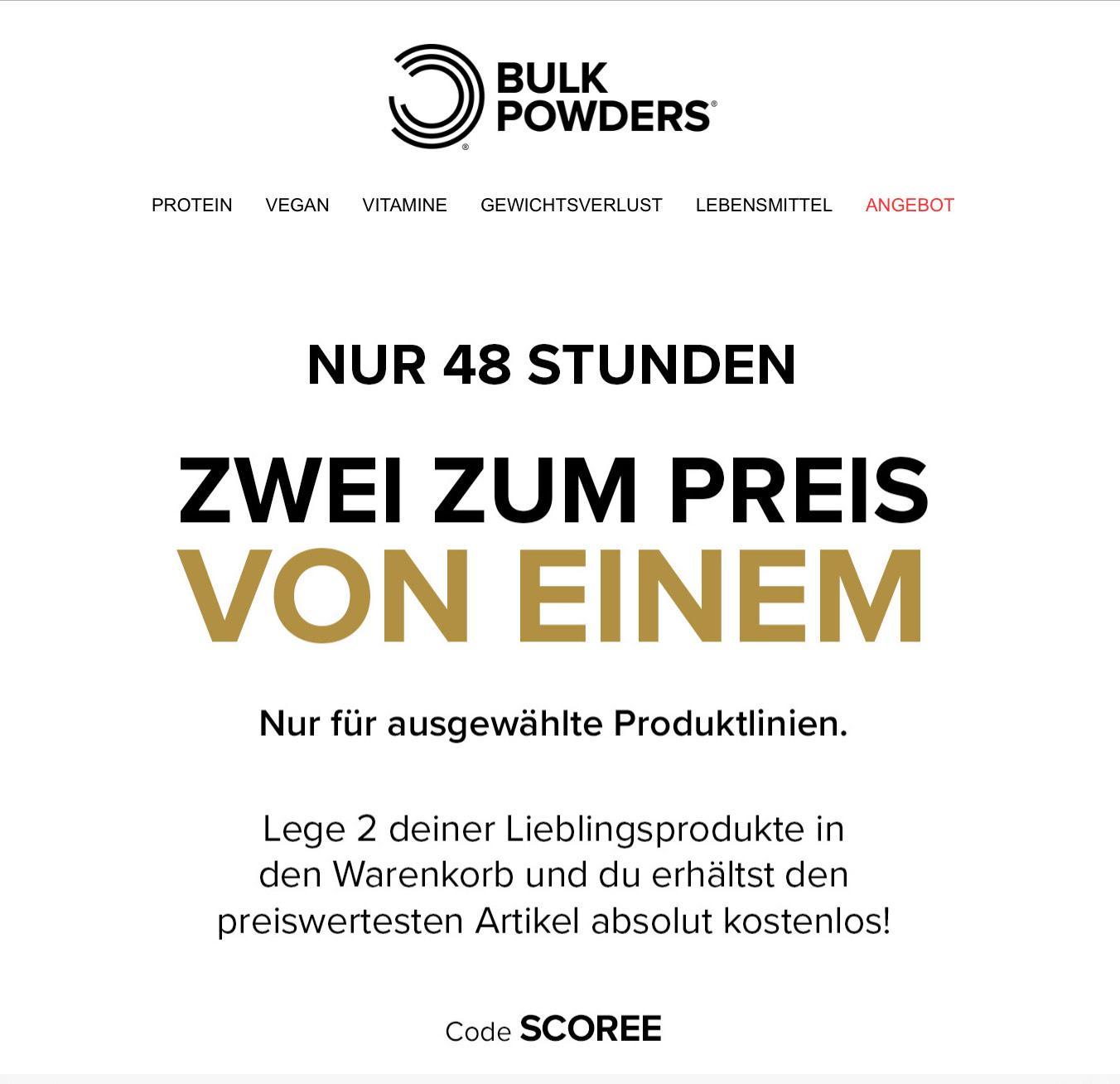 Bulk Powders Rabattaktion