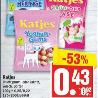 Katjes Fruchtgummi oder Lakritz, div Sorten, mit zstzl. 10% Rabatt fûr 39 Cent/Beutel (ab 1,95€/kg)
