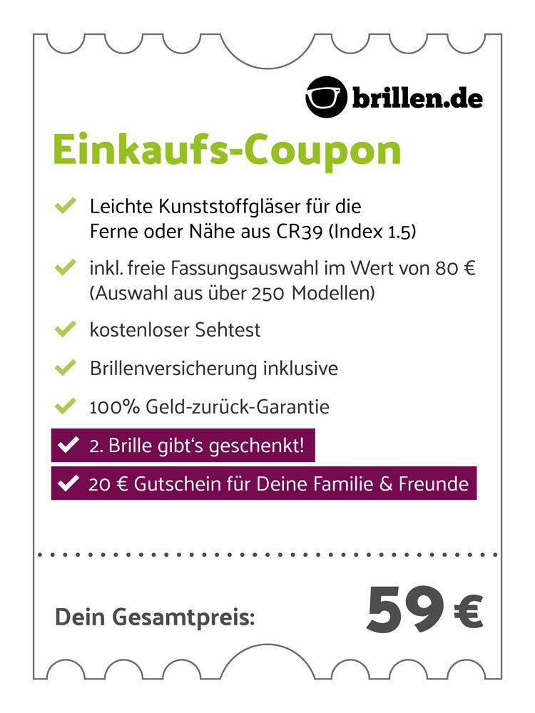 Weihnachtsangebot Brillen.de: 59€ für Einstärkenbrille inkl. allem Drum und Dran + 2. Brille geschenkt + 20€ Gutschein für Freunde & Familie