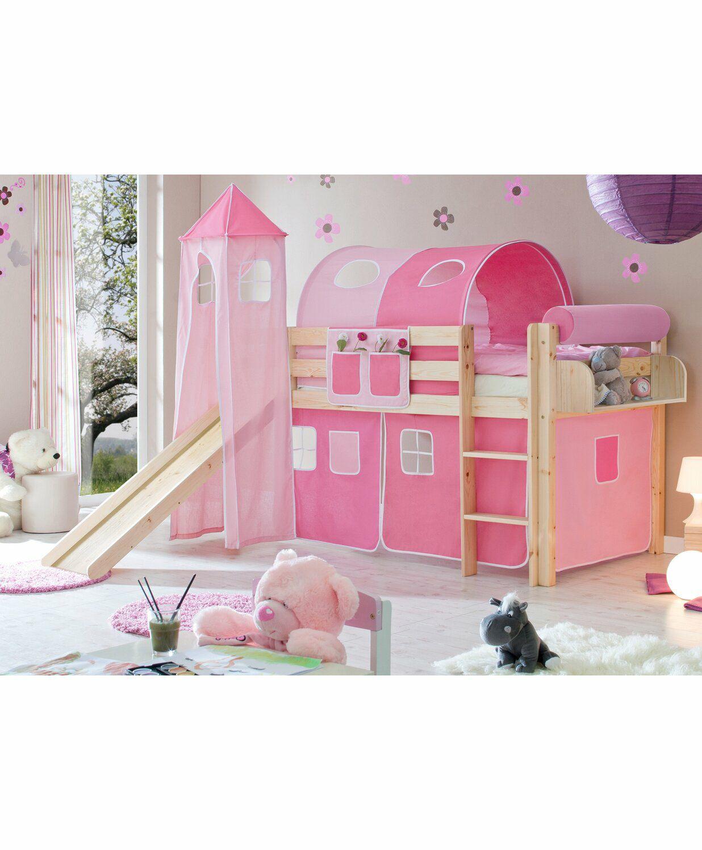 Hochbett mit Rutsche und Turm Natur 90 cm x 200 cm Rosa-Pink