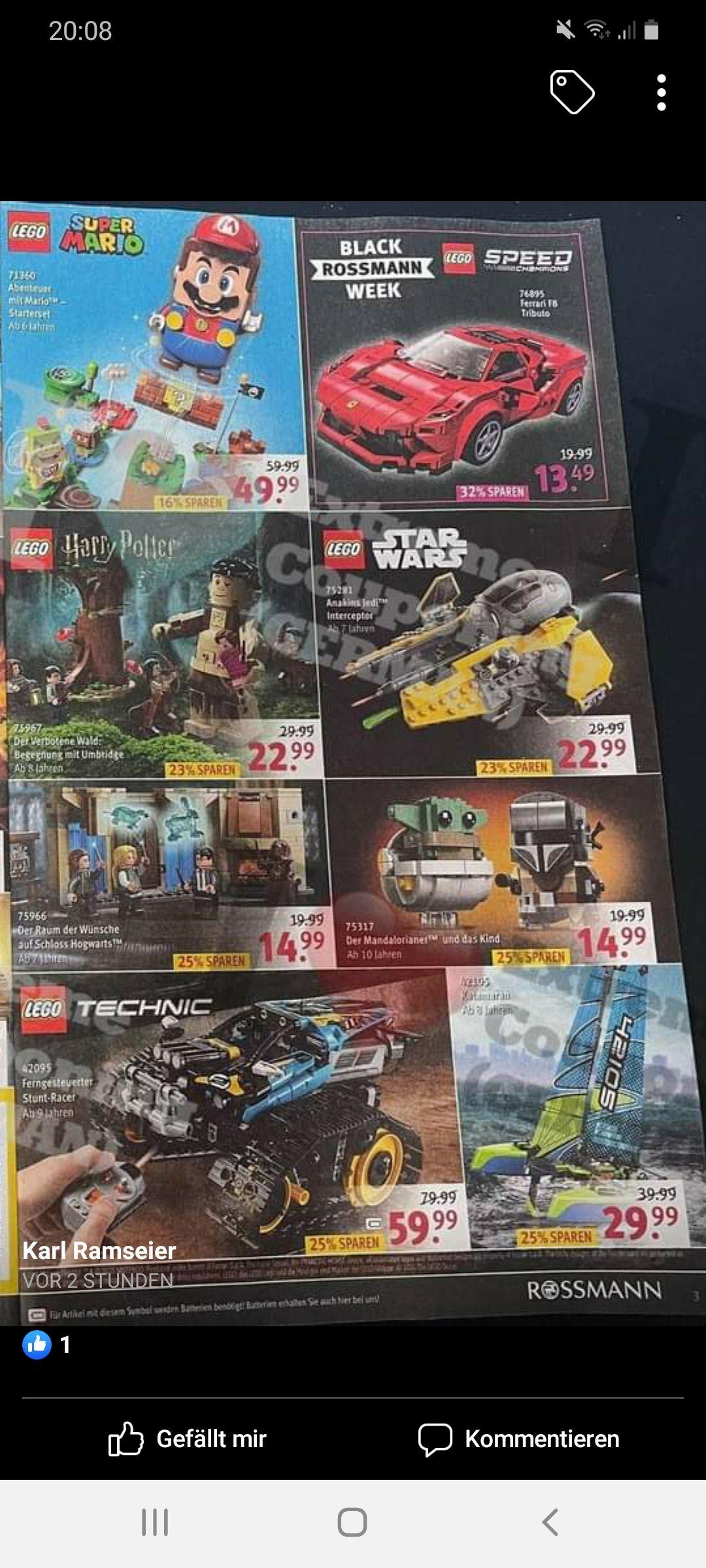 [Rossmann Black Week] u.a. Lego Ferrari F8 Tributo 76895 (12,14 €), Mandalorianer 75317 (13,49 €), Batmobile 76119 (20,69 €)