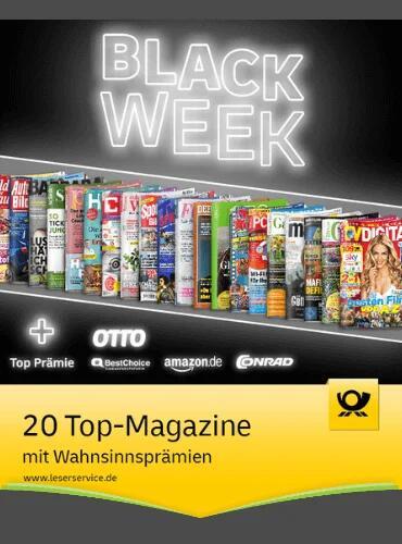 20 Zeitschriftenabo-Angebote zur Black Week beim Leserservice: z.B Spiegel, CHIP, PC Games, Auto Bild, Sport Bild, GEO, Gala, Hörzu, Manager