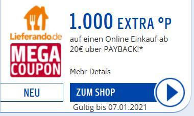 Neuauflage verschiedener Mega Coupons 1000 Punkte bei Payback ab 20€ zb. Lieferando, ab 30€ MBW zb. Ebay (ausgewählte Nutzer)