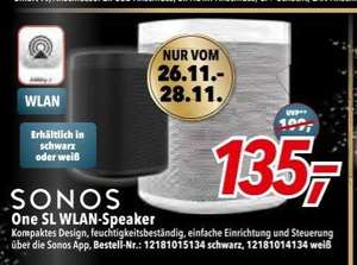 [lokal: Expert Dodenhof vom 26.11. - 28.11.] Sonos One SL - Streaming-Lautsprecher - 135€ | Sonos Beam - Smart Soundbar - 325€