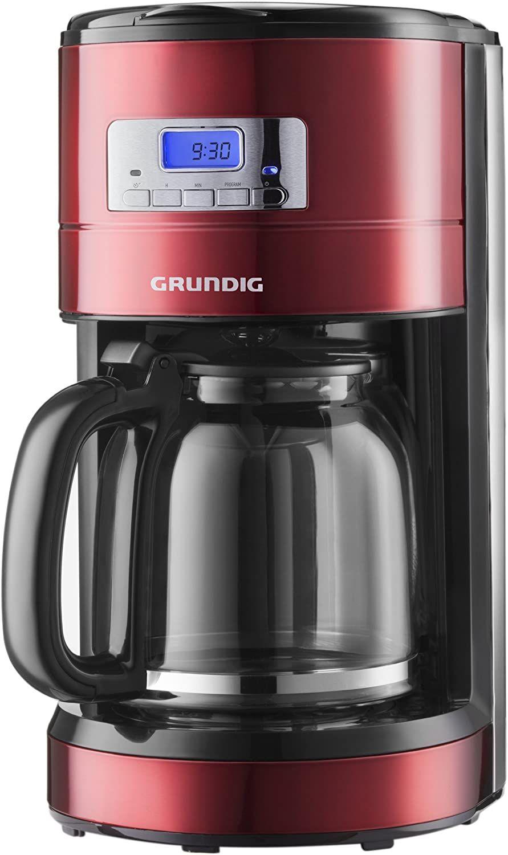 Grundig KM 6330 Kaffeemaschine Red Sense (1,8 l, Digitaluhr, programmierbare Startzeit) metallic rot [Amazon Prime]