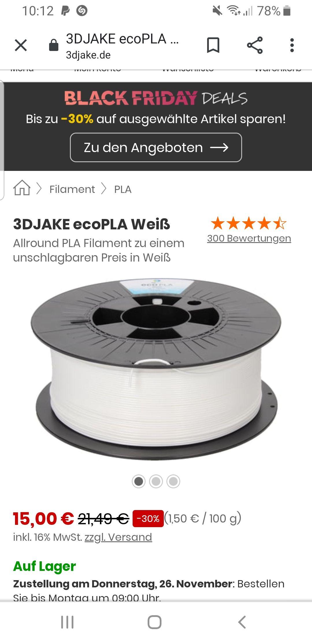 30% auf 3D Jake PLA Filament versch. Farben