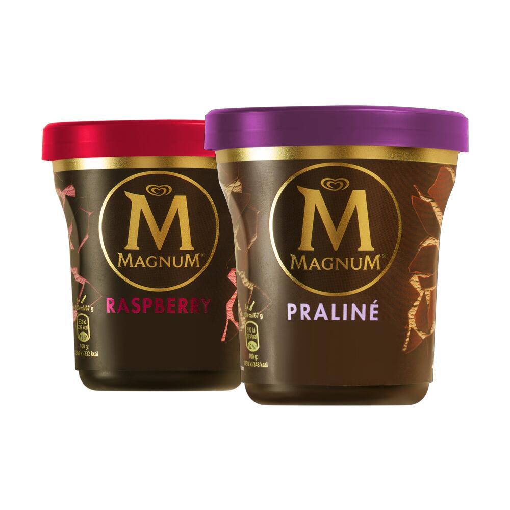 MAGNUM Dark Chocolate & Raspberry oder Schoko-Haselnuss Praliné Eisbecher je 440ml [Zimmermann]