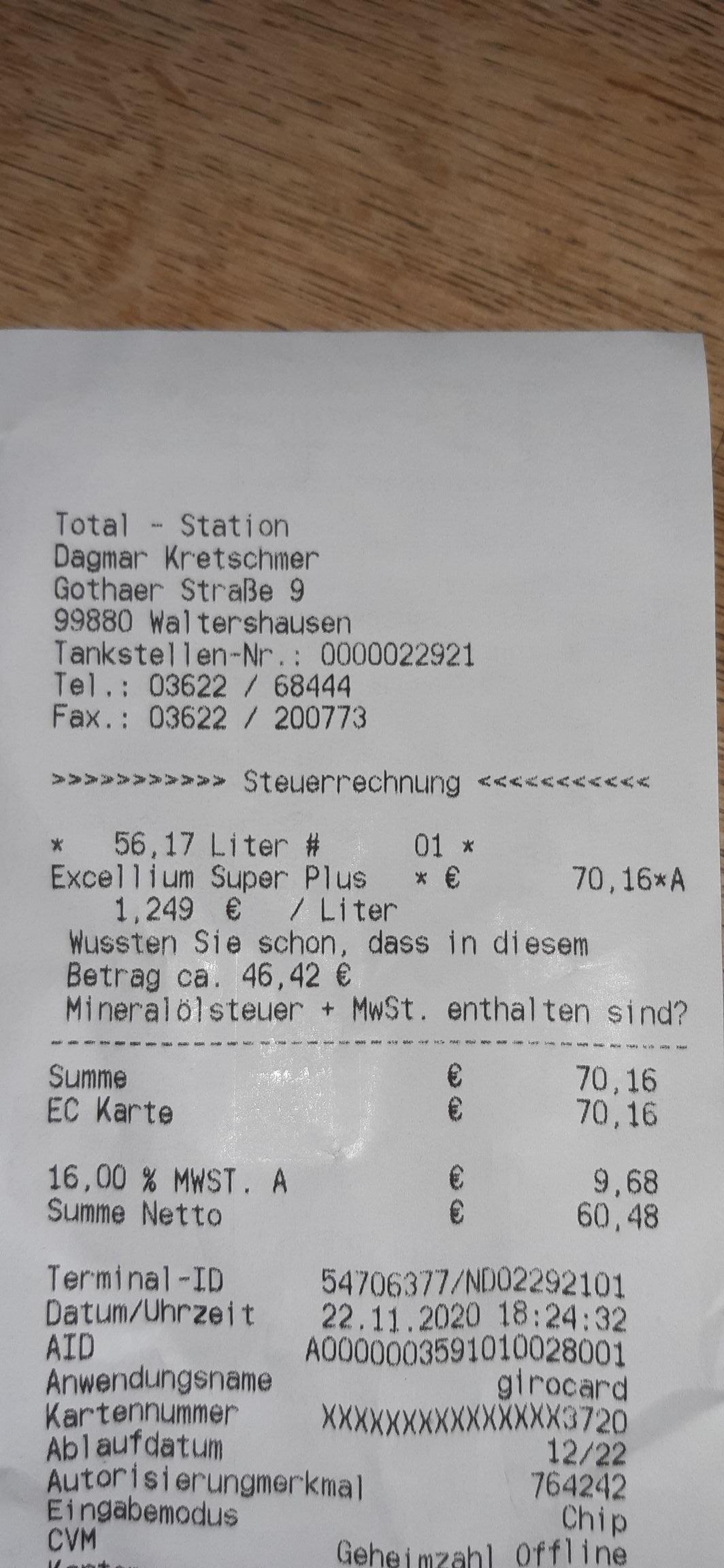 Lokal: TOTAL-Station in Waltershausen - Super Plus Sprit zum Preis von Normal Benzin