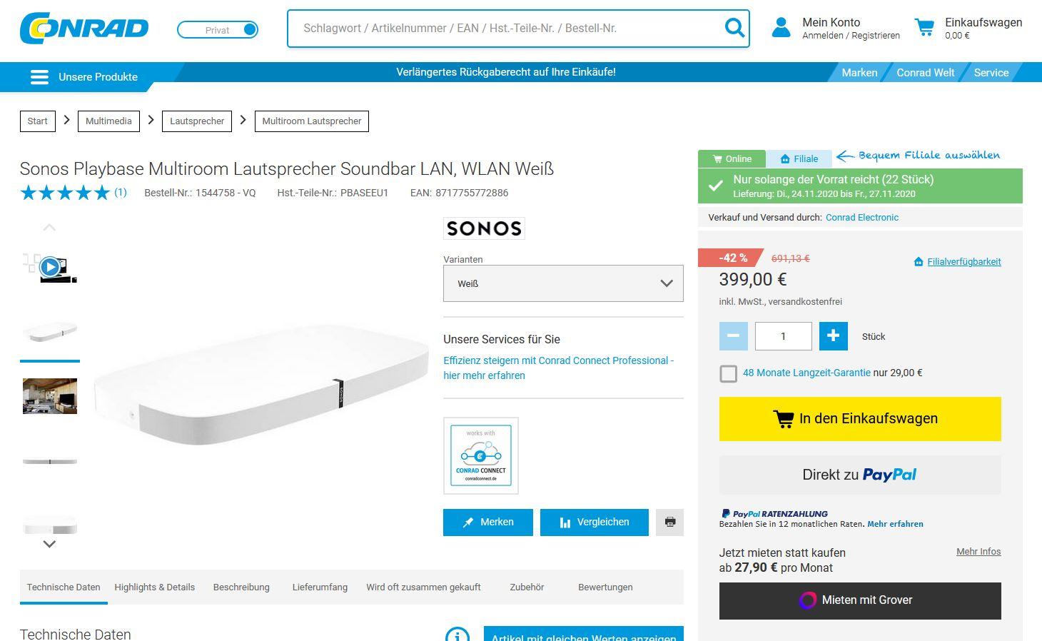 Sonos Playbase für 399 aber nur in weiß