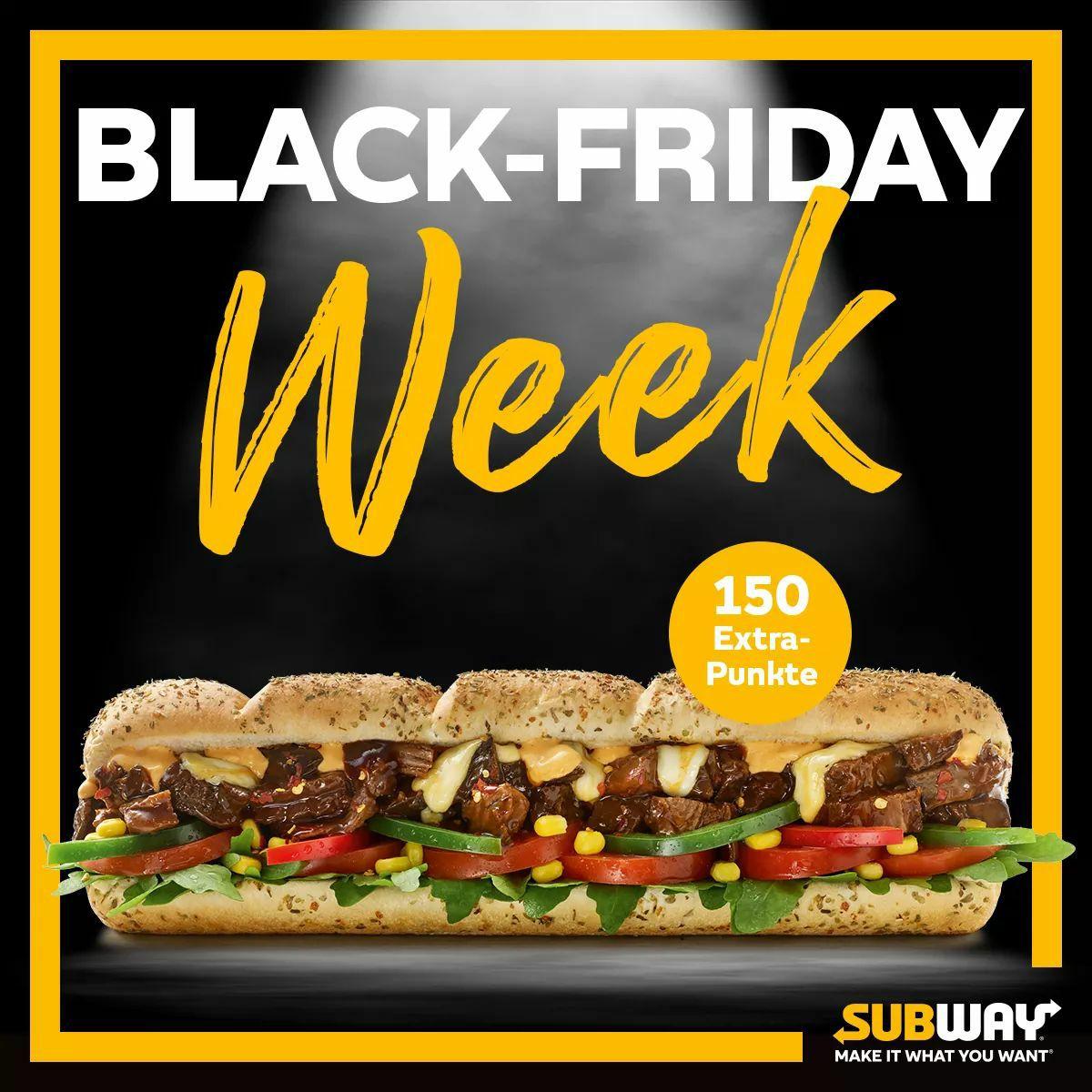 [Subway] Black-Friday Week 150 Extra-Punkte