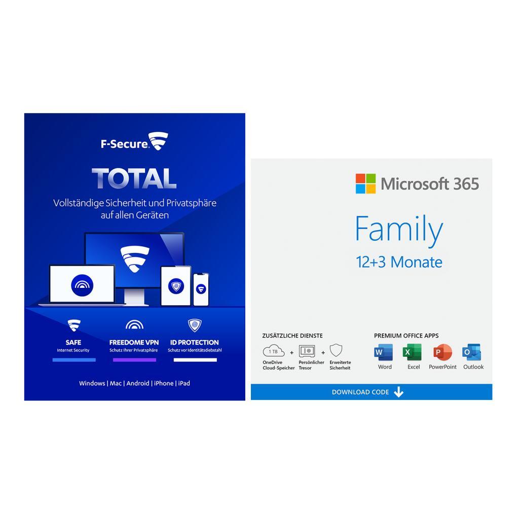 Microsoft 365 Bundles bei NBB: z.B. 15 (!) Monate Microsoft 365 Family (6 Geräte) + F-Secure Total (7 Geräte)   365 Single ab 48,67€