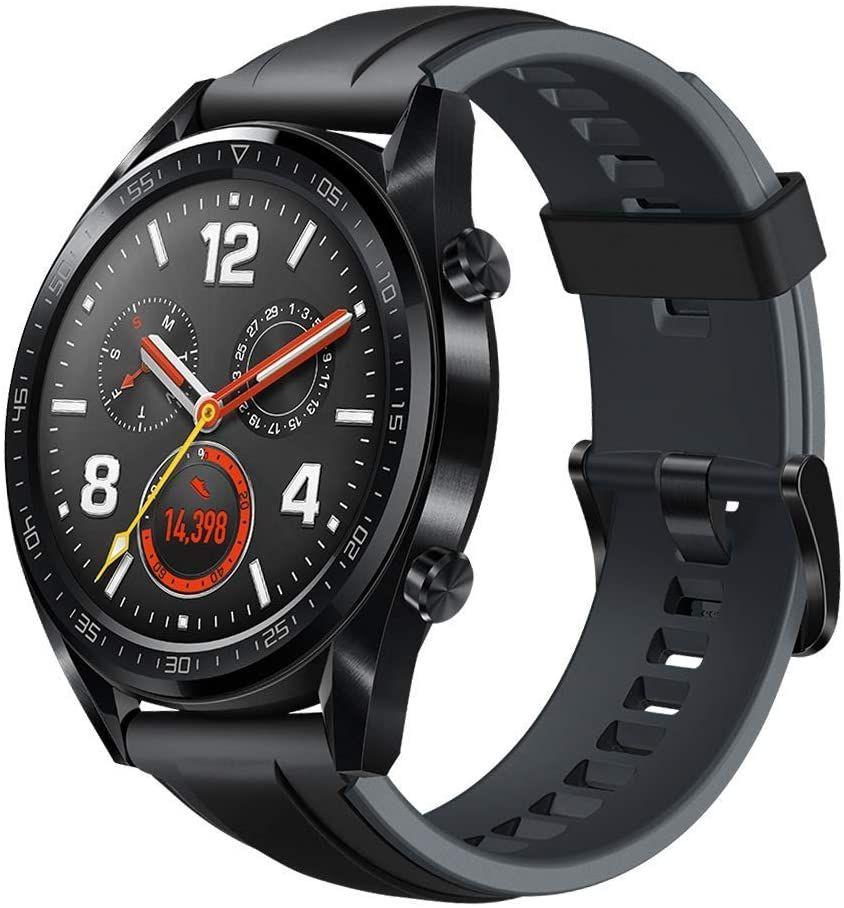 Sammeldeal Huawei Watch GT Sport Smartwatch (46 mm Amoled Touchscreen, GPS, Fitness Tracker, Herzfrequenzmessung, 5 ATM wasserdicht) Schwarz