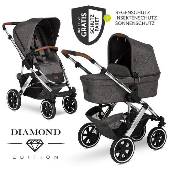 ABC Design Kombi-Kinderwagen Salsa 4 Air Diamond Edition Asphalt + XXL Zubehörpaket