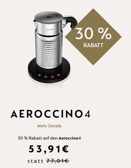 [Nespresso] AEROCCINO 4 Milchaufschäumer mit 30% Rabatt