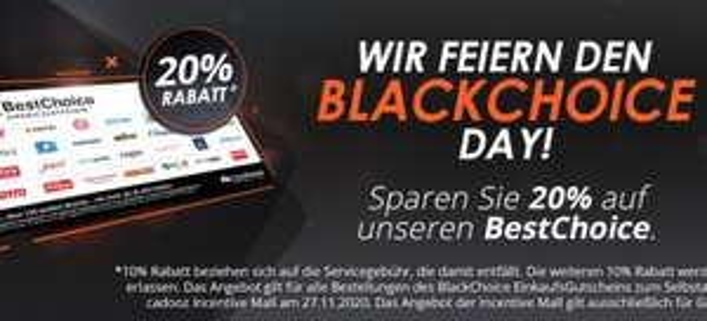 [Gewerbe][BF] 10% Rabatt auf Universalgutschein BestChoice Standard von cadooz (zB Ikea, Eventim, Conrad, Cyberport, Zalando)