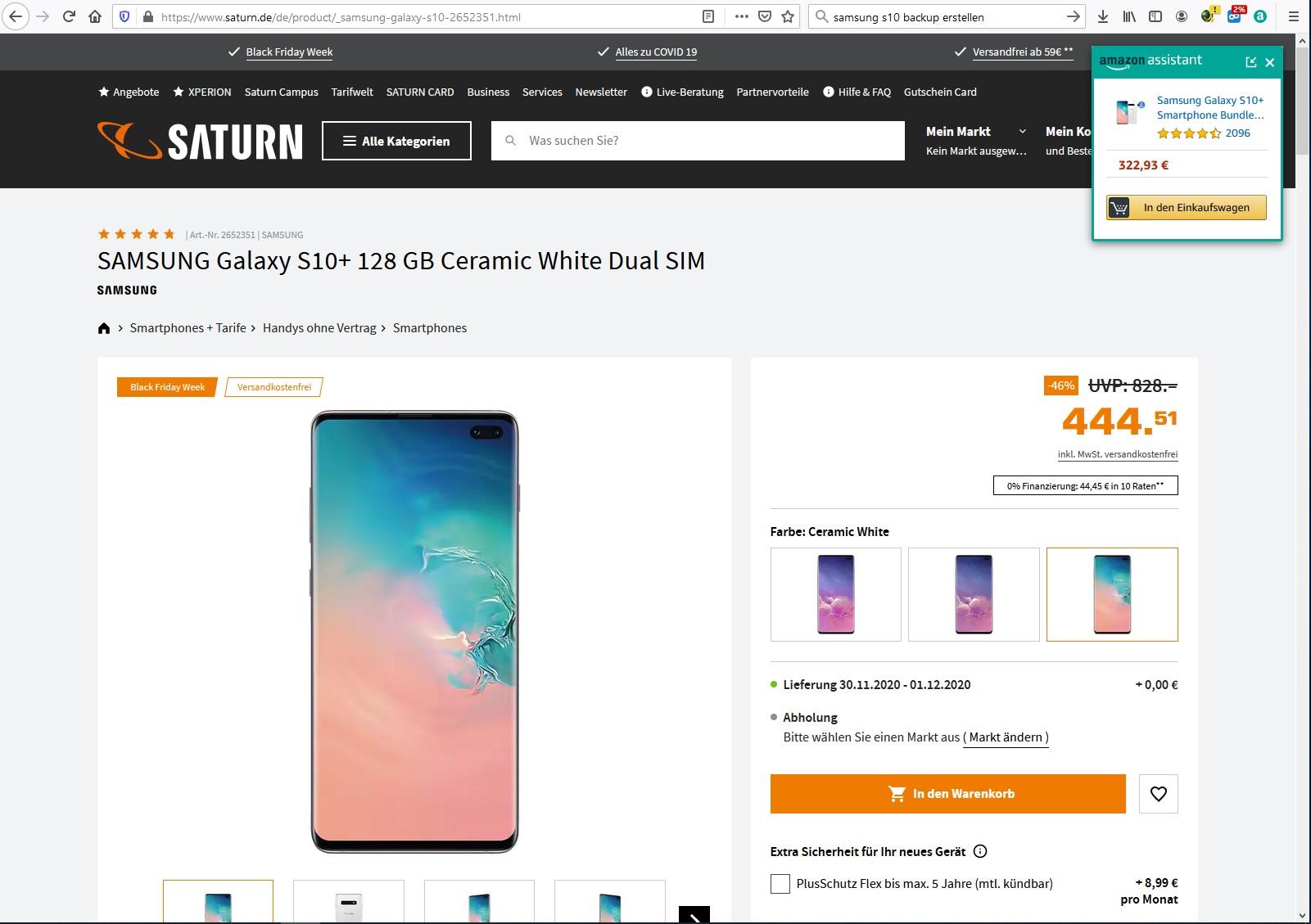Samsung Galaxy S10+ 128 GB Ceramic White mit 36 Monaten Garantie
