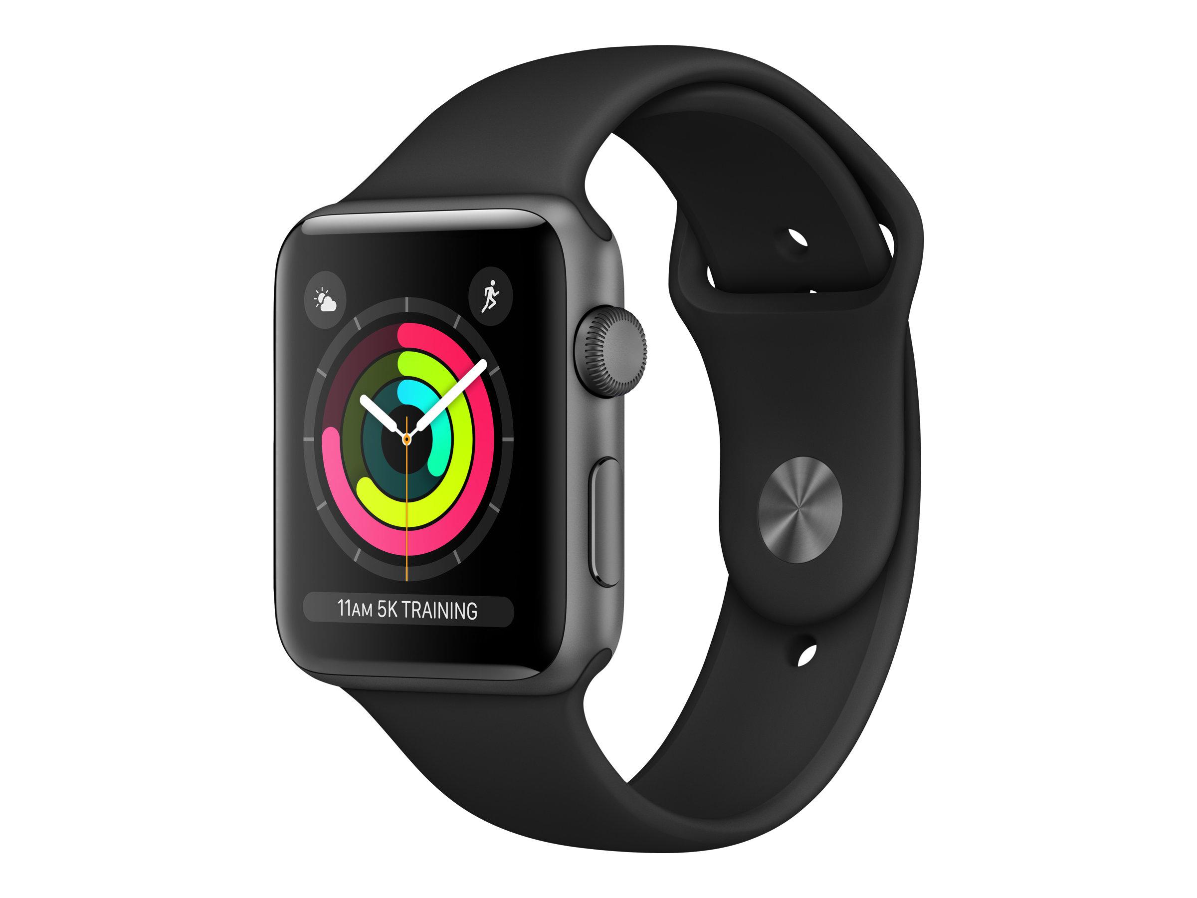 Apple Watch Series 3 (GPS) Aluminium 38mm grau mit Sportarmband schwarz