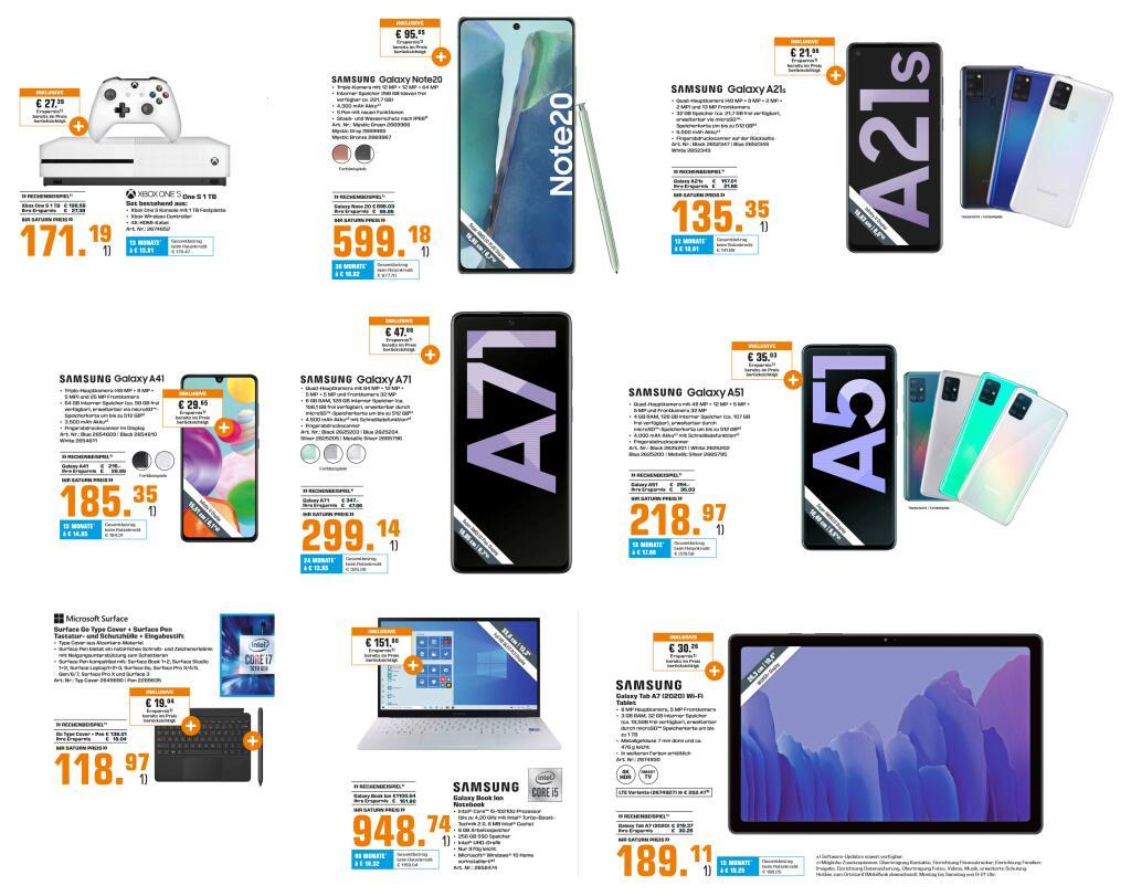 [MM&Saturn] Samsung Galaxy A51 - 208,97€ | Xbox One S 1TB - 161,19€ | A41 - 175,35€ | Tab A7 - 179,11€ | A21S - 125,35€ | u.a. Angebote