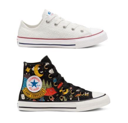 Converse Kinder: Little Miss Chuck Taylor All Star Low Top / Camp Converse Chuck Taylor All Star High Top je 28,49€ (inkl. Versand)