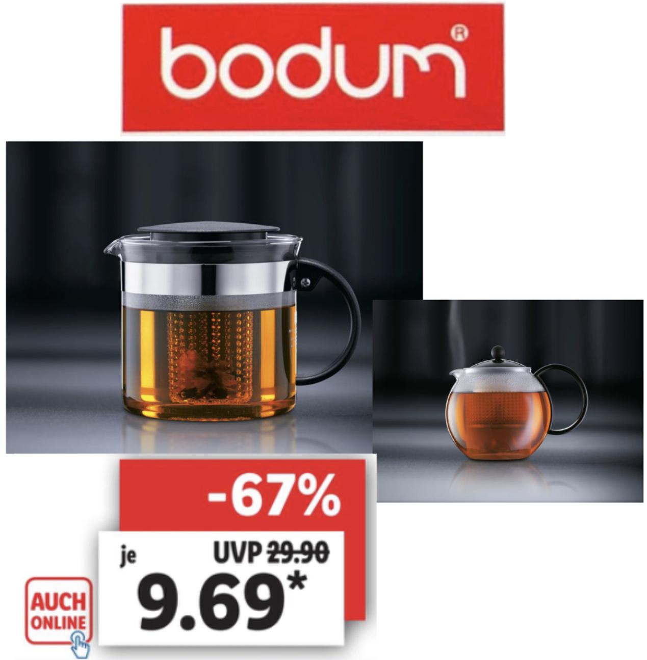 Bodum Bistro Nouveau oder Assam Teebereiter 1,0 Liter je 9,69€ / Bodum Kaffeebereiter o. Milchaufschäumer je 12,60€ / Kaffeemühle 12,60€
