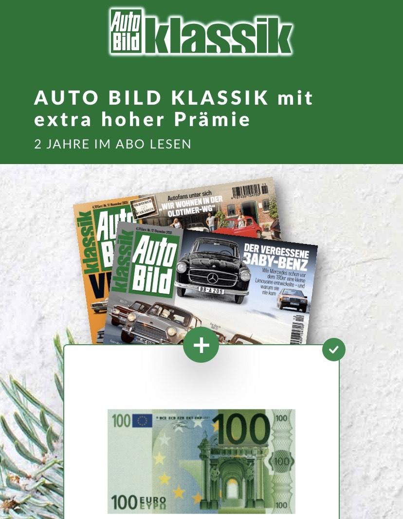 Autobild Klassik 2-Jahres-Abo inkl. 100€ Prämie - Verrechnungsscheck / Gutschein