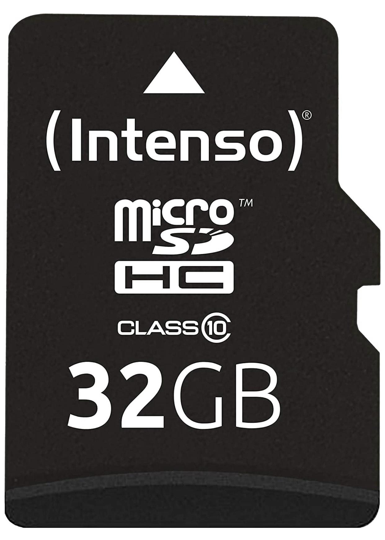 (Amazon Prime) Intenso Micro SDHC 32GB Class 10 Speicherkarte inkl. SD-Adapter