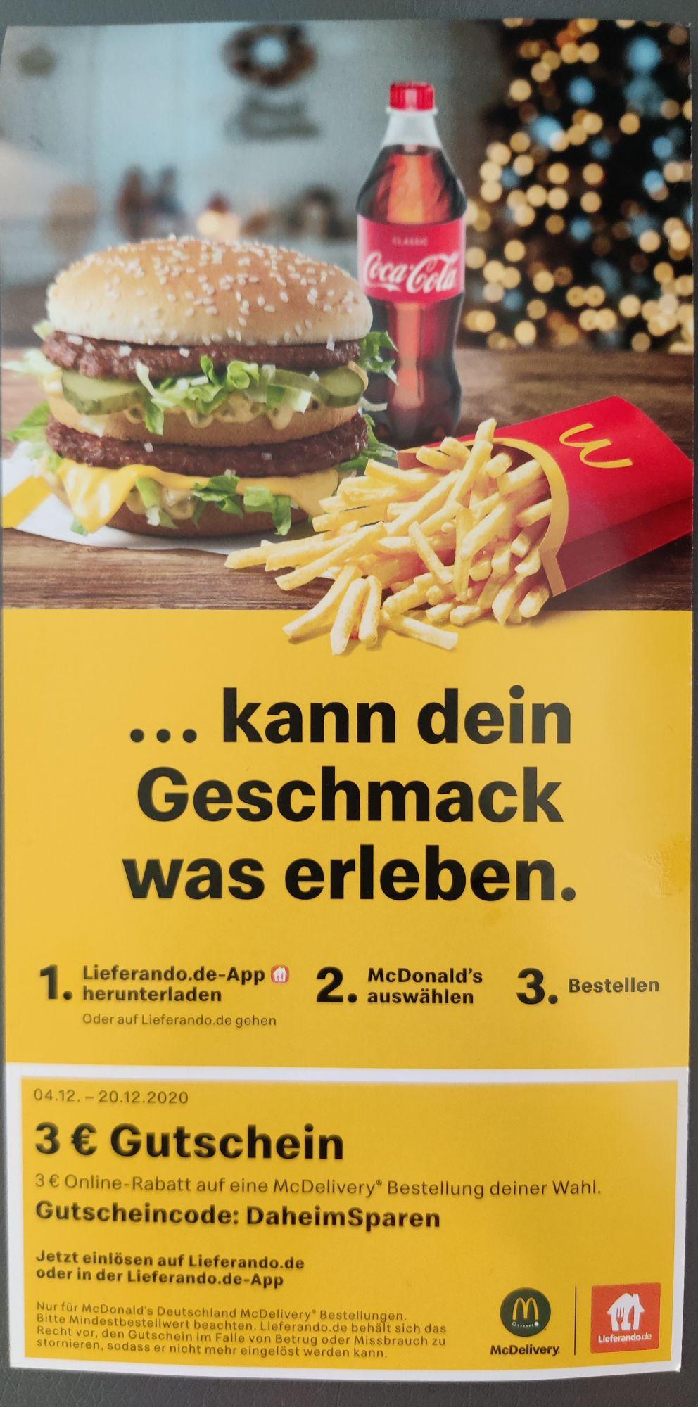 [McDelivery, 10€ MBW] 3€ Gutschein von McDonalds bei Lieferando